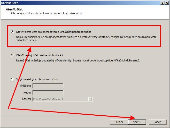MetaTrader 5 otevřít demo účet
