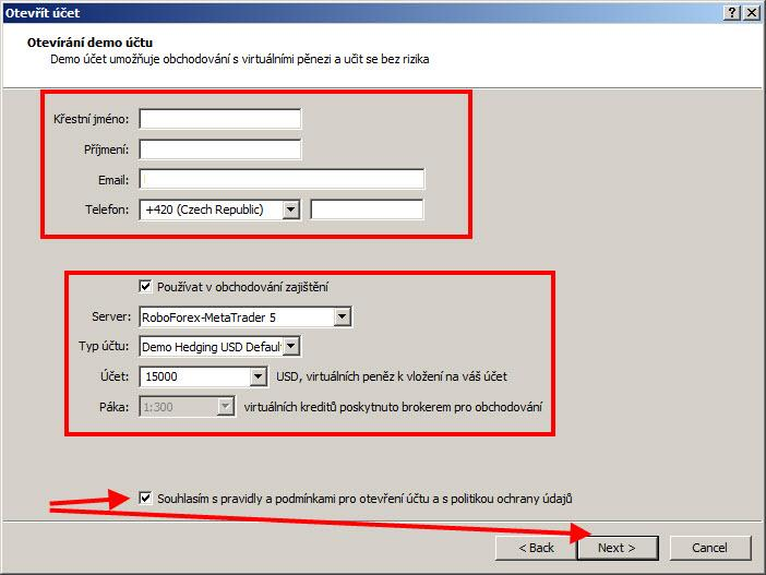 MT 5 informace k demo účtu