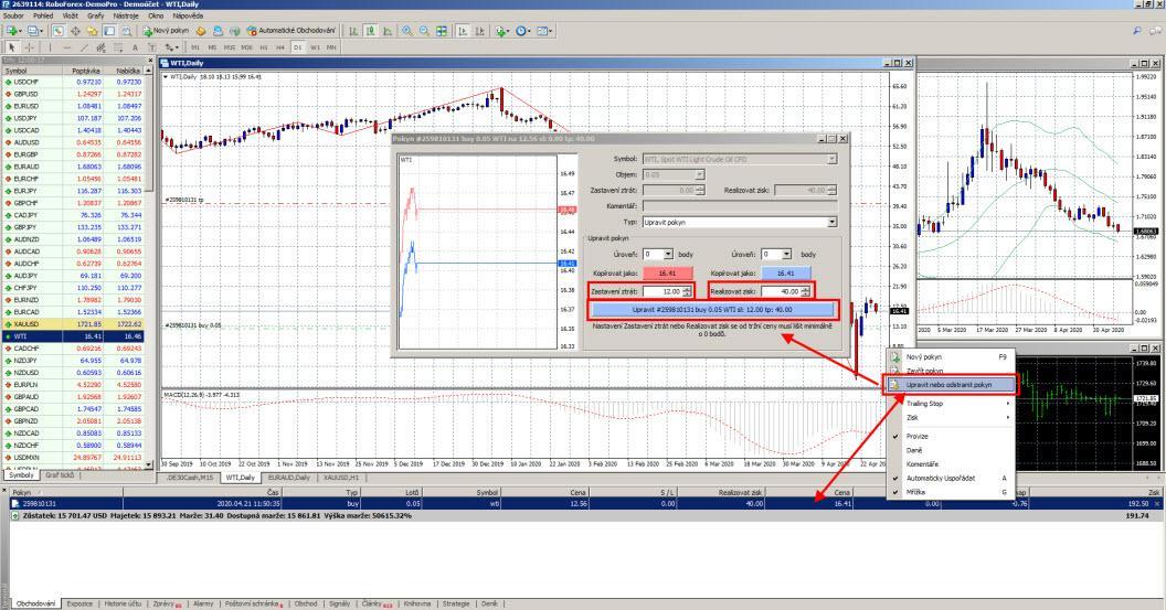 Take Profit a Stop Loss v MetaTraderu 4