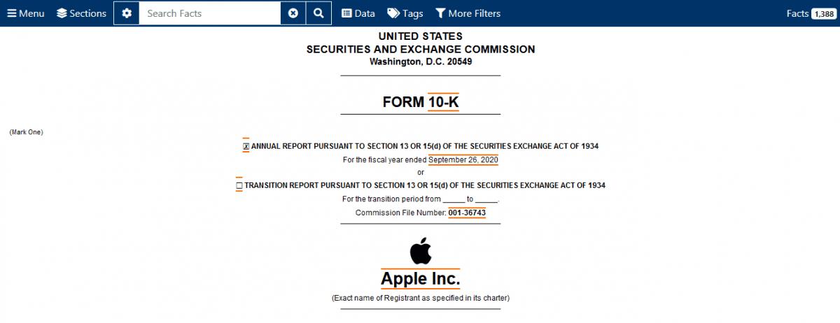 Fundamentální analýza akcií - finanční výkaz 10-K pro Apple