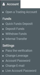 Кнопка управления счетом R WebTrader