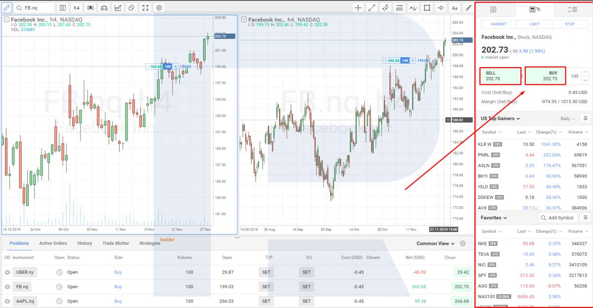 Покупка акций на платформе R Trader - ордера.
