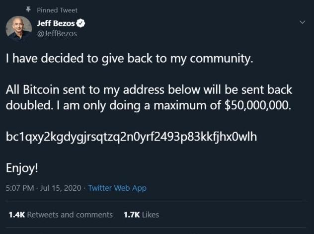 Сообщение на аккаунте Джеффа Безоса после взлома Twitter