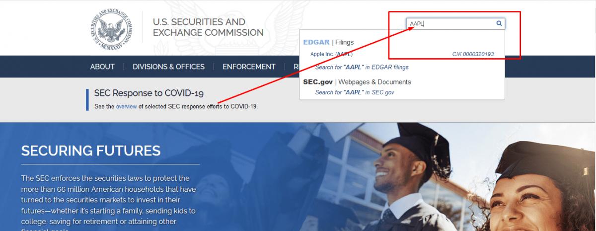 Поиск формы 10-K на сайте SEC