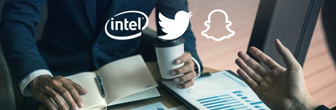 Квартальные отчёты Twitter, Snap и Intel