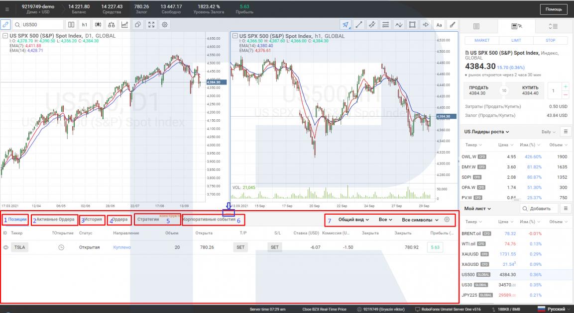 Нижнее меню в платформе R StocksTrader.