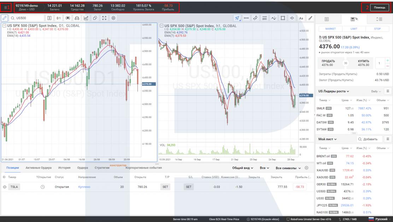Верхнее меню платформы R StocksTrader.