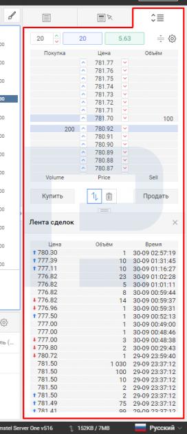 Як виглядає біржовий стакан (стакан цін) у платформі R StocksTrader