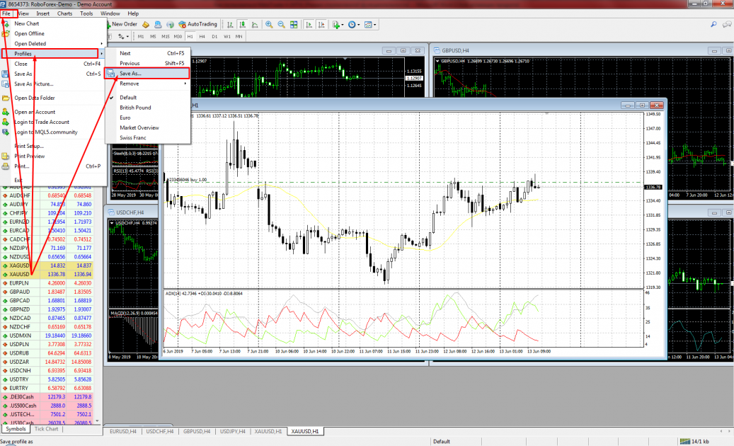 Saving charts - MetaTrader 4