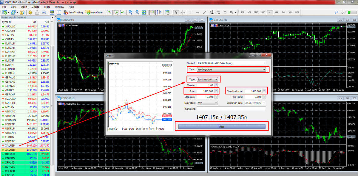 Placing Stop Limits in MetaTrader 5.