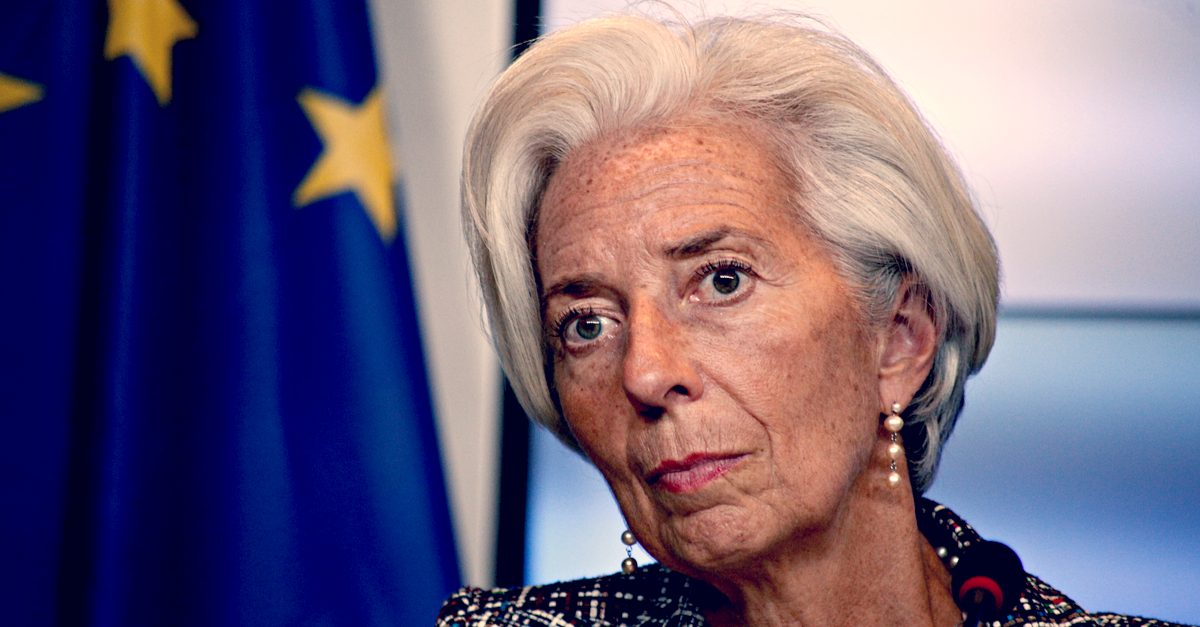 Christine Lagarde delivers a speech