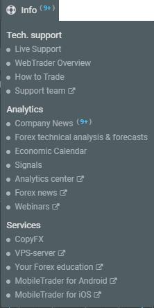 Infos in R WebTrader