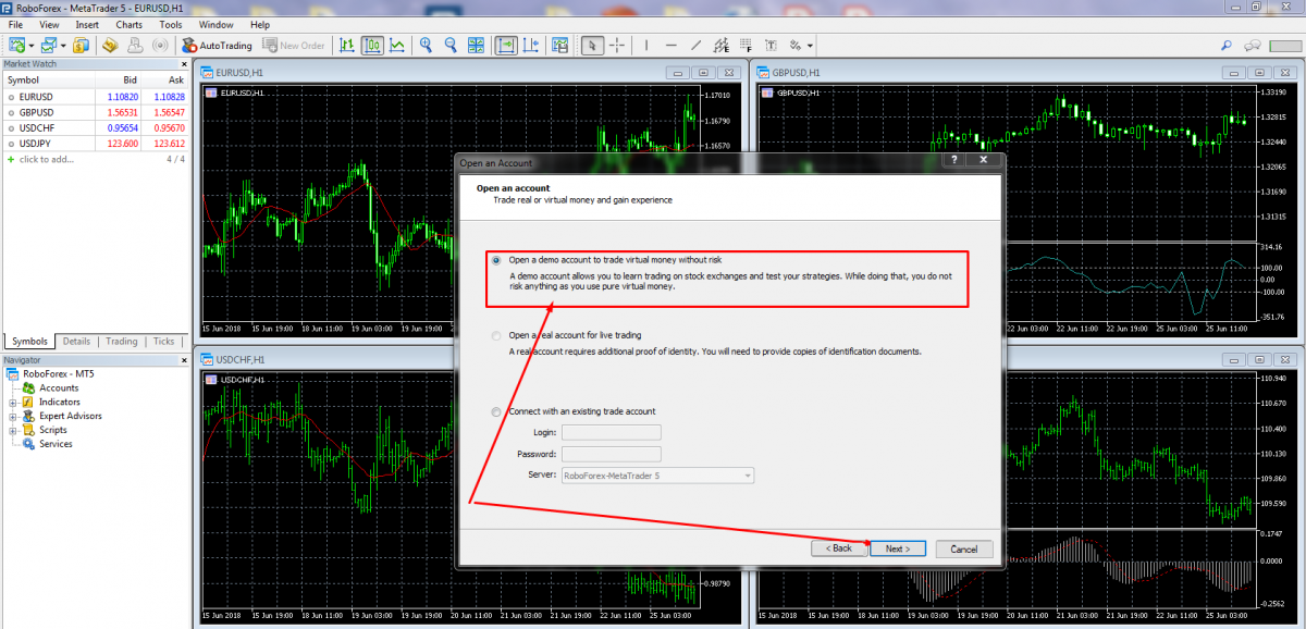 Opening a demo account in MetaTrader 5.