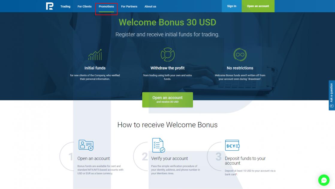 Welcome Bonus of 30 USD