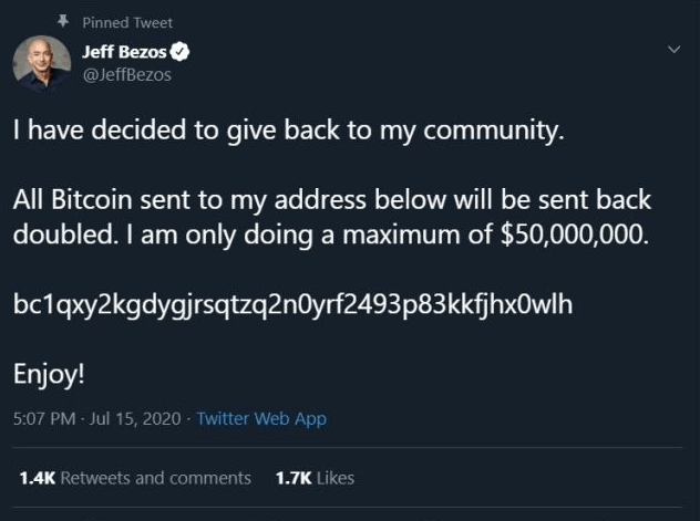 Jeff Bezos post in Twitter after being hacked