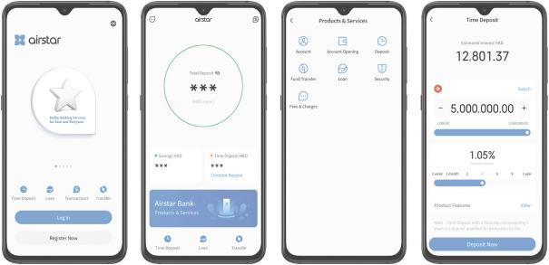 Interfaz de la aplicación Airstar Bank